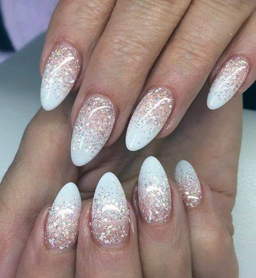 Sparkling White Ombre Nails Women
