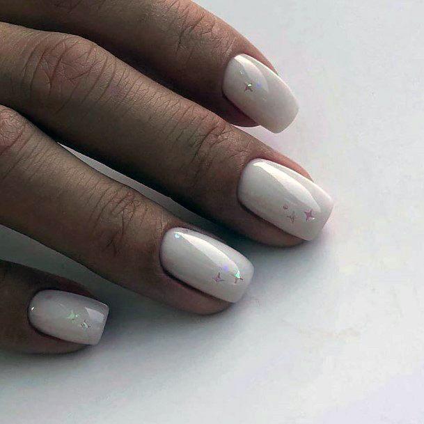 Sparkling White Shellac Nails For Women