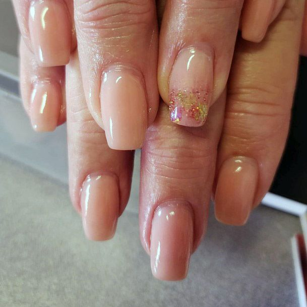 Sparkly Accent Womens Nude Nail Design