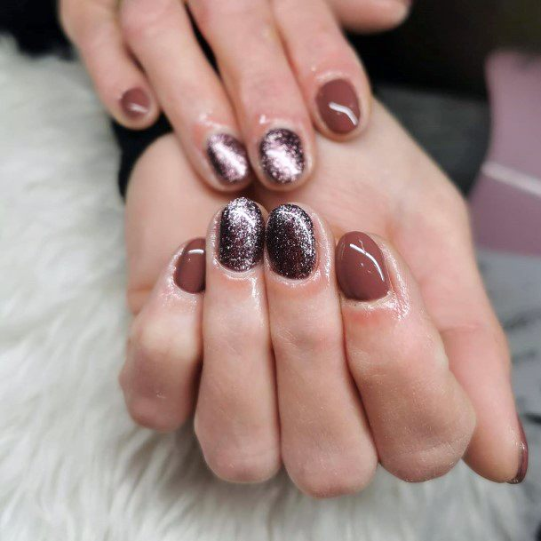 Sparkly Brown Nails For Women