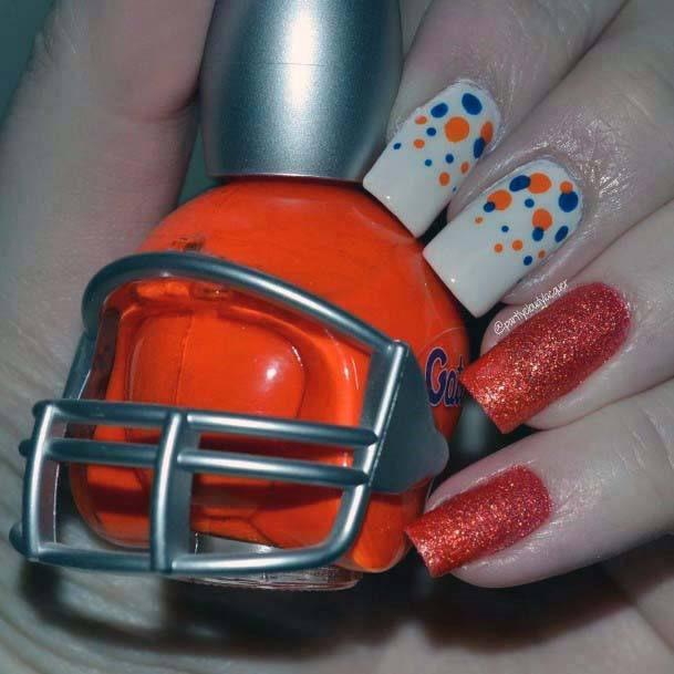 Sparkly Orange And Blue Dotted Nails For Women