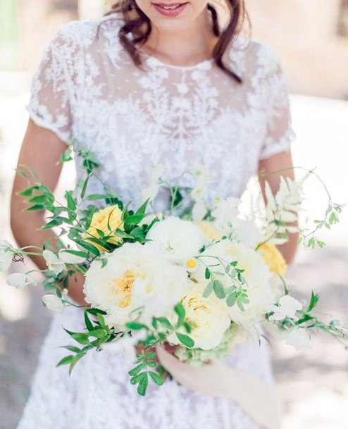 Sparkly White And Yellow Wedding Flowers