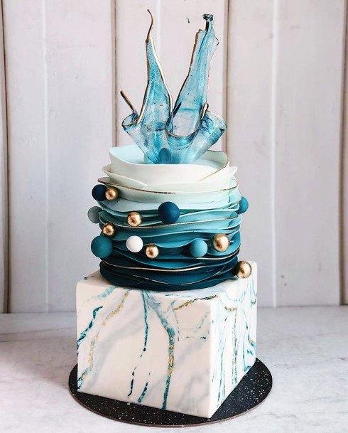 Spectacular Blue And White Wedding Cake