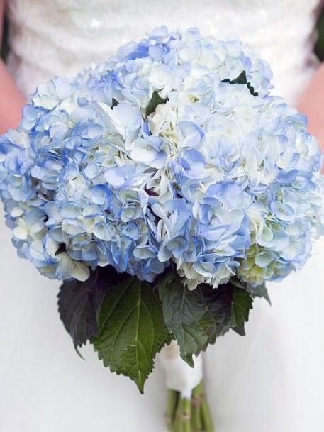 Spectacular Blue White Hydrangea Wedding Flowers