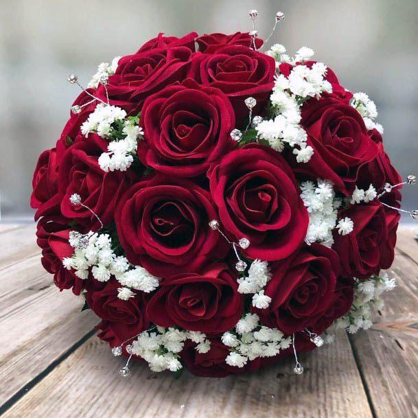 Spherical Red Wedding Flower Ball