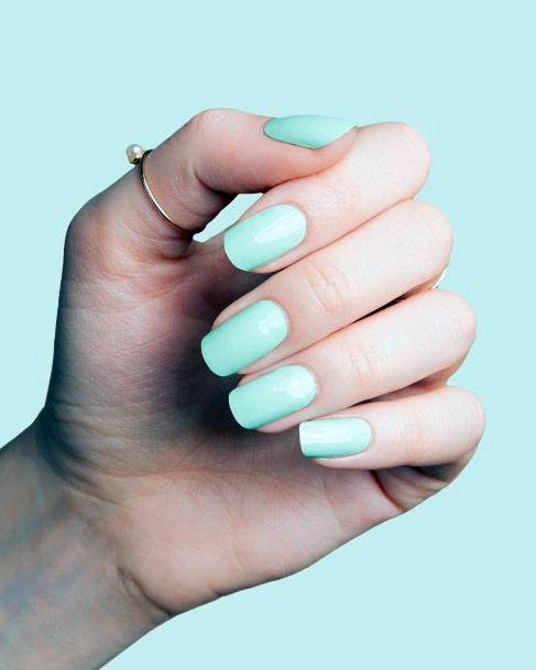 Spicy Mint Colored Nails Women