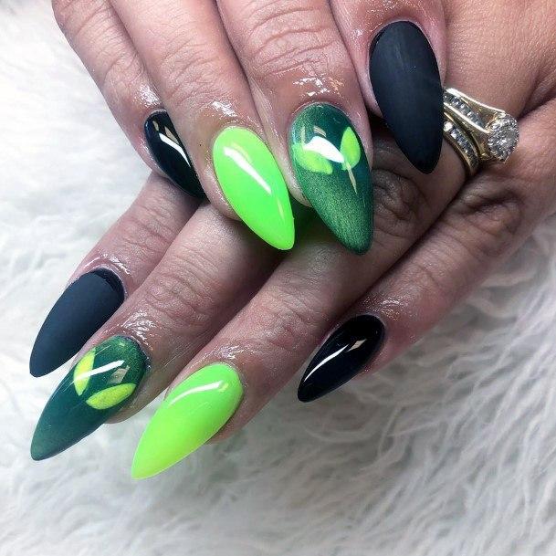 Spider Man Neon Green Nails