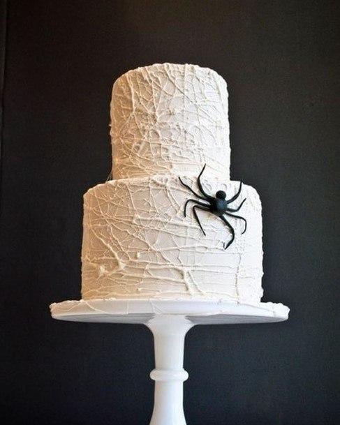 Spider On White Halloween Wedding Cake