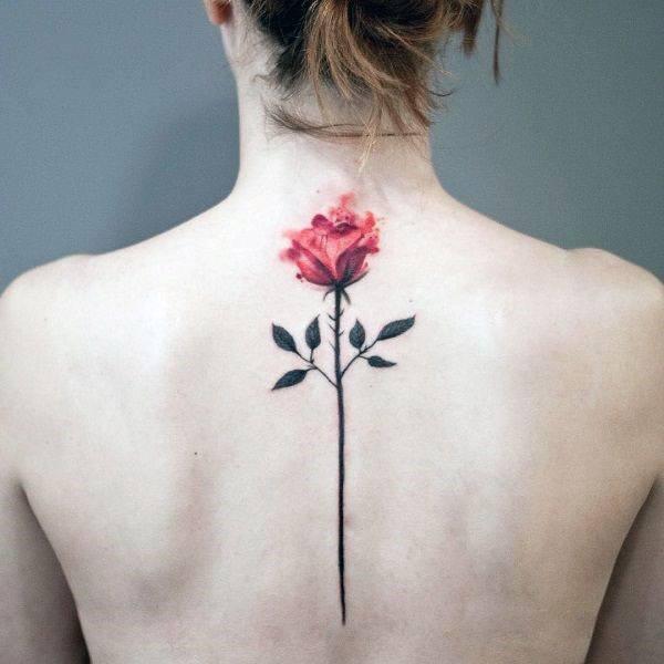 Spine Tattoo Womens Single Red Rose Art