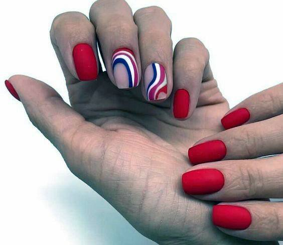 Spiral Art Accent And Bright Red Nails For Women