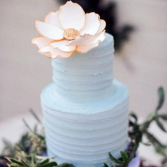 Spiral Buttercream Blue Wedding Cake