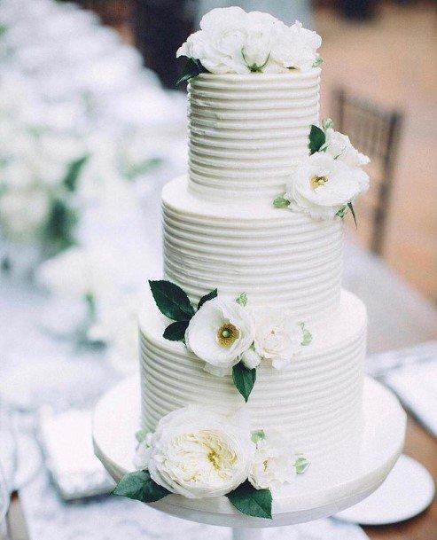 Spiral Texture White Wedding Cake