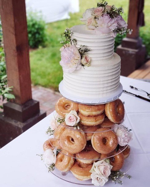 Spiral White Donut Wedding Cake