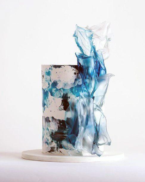 Splash Blue And White Wedding Cake