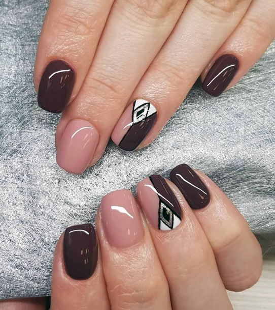 Sporty Brown And Pink Nails Women
