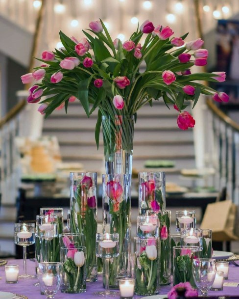 Spring Inspired Pink Tulip Wedding Centerpiece Ideas