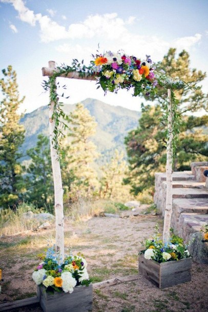 Square Arch With June Wedding Flowers
