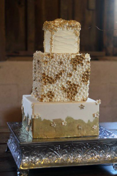 Square Based Gold Wedding Cakes
