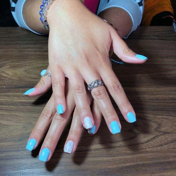 Square Bright Blue And White Nails For Women
