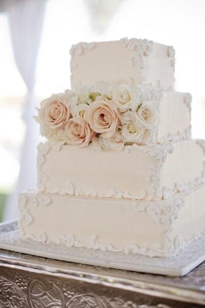 Square Leveled White Wedding Cake