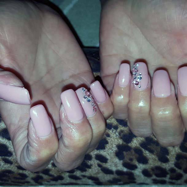 Square Light Pink Nails With Rhinestones