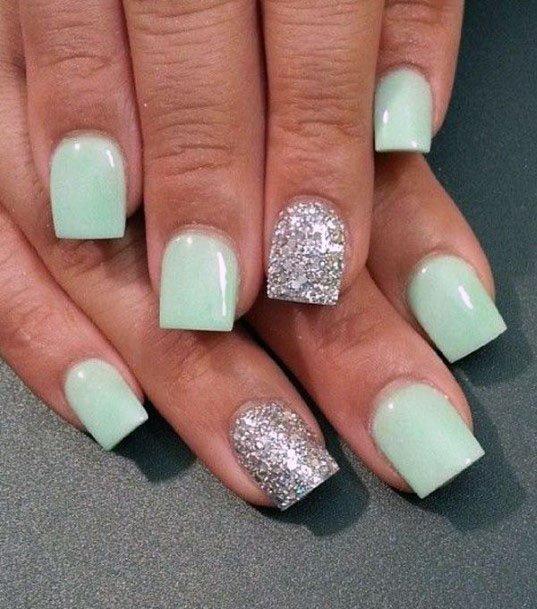 Square Mint Nails Women