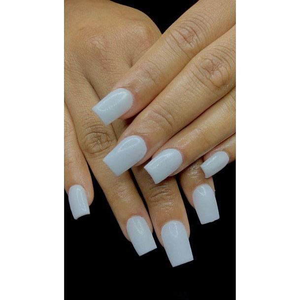 Square Pure White Gel Nail For Women