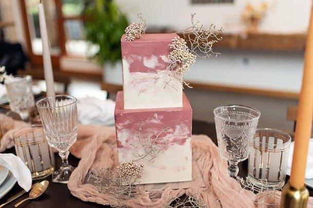 Square Shaped 2 Tier Wedding Cake