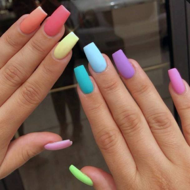 Square Shaped Matte Colorful Nail Ideas For Women