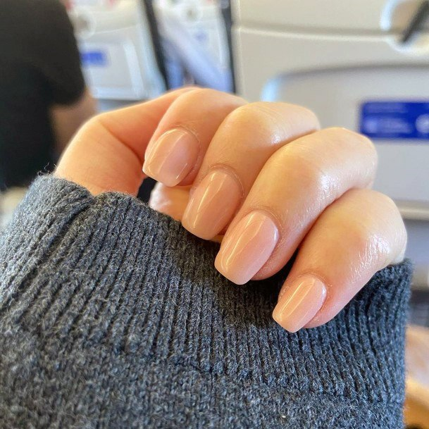 Square Shaped Nude Nails For Women