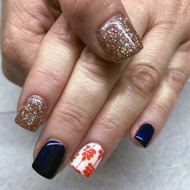 Square Short Blue And Orange Flower Nails For Women