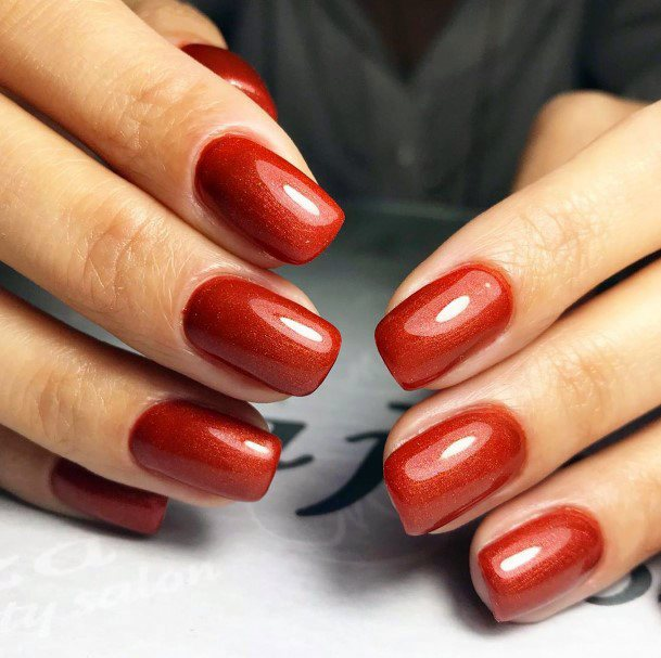 Square Tipped Red Shellac Nails For Women