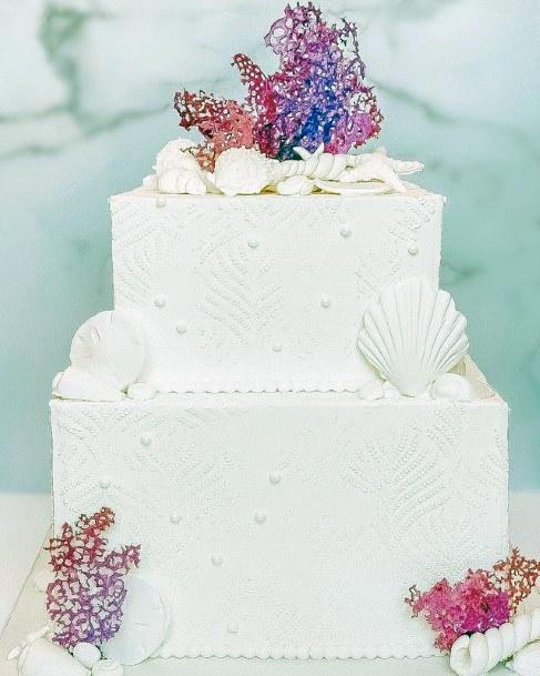 Square White Beach Wedding Cake Women