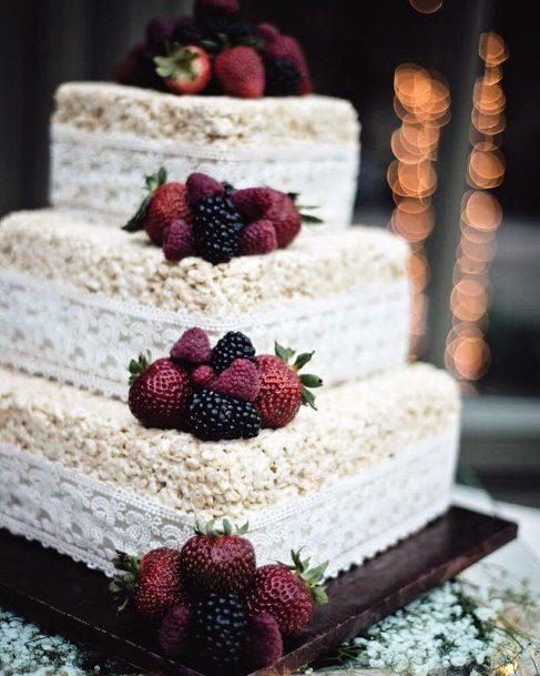 Square White Unique Wedding Cake