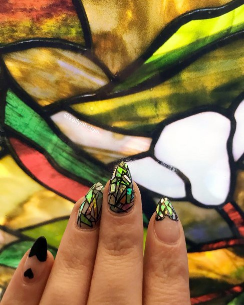Stained Glass Effect Glass Nails For Women