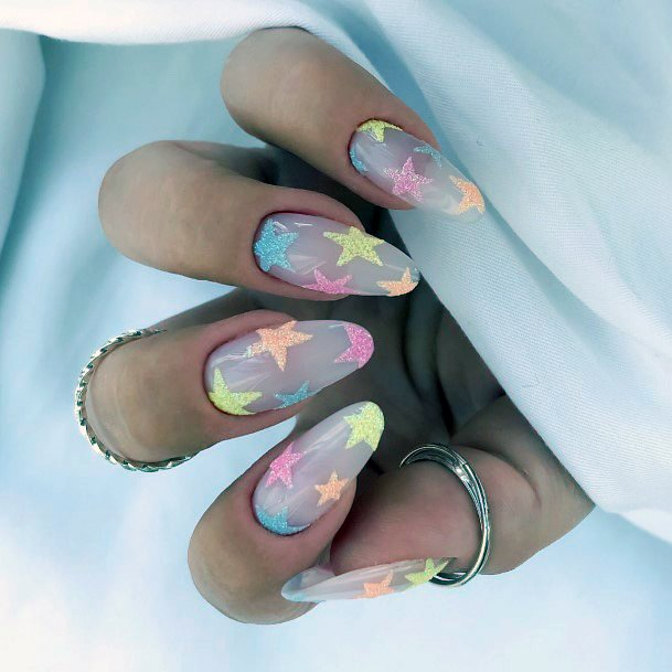 Star Designs Colorful Nail Ideas For Women