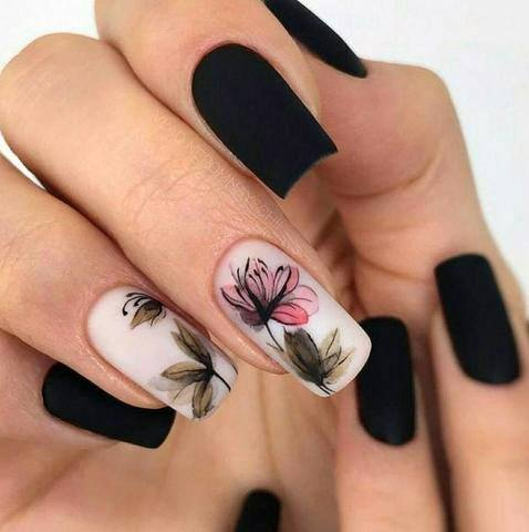 Stenciled Orchids Nail Design