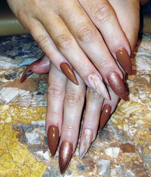 Stiletto Brown Nails With Glitter For Women