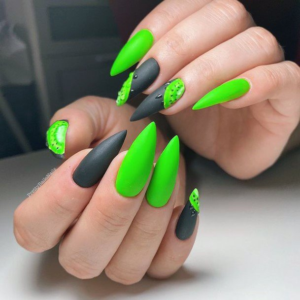 Stiletto Nails Black And Kiwi Womens Art
