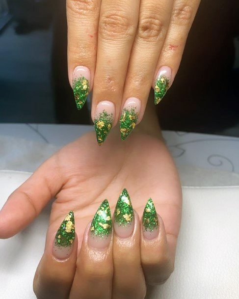 Stiletto Nails For Women With Green And Gold Tip