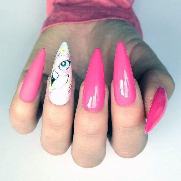 Stiletto Pink White Flamingo Nails