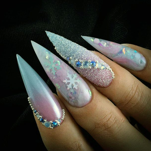 Stiletto Sugar Nails With Snow Flakes And Stones Women