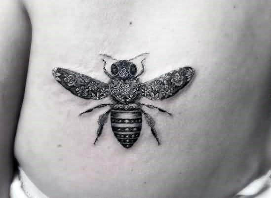 Stinging Black Honey Bee Tattoo For Women