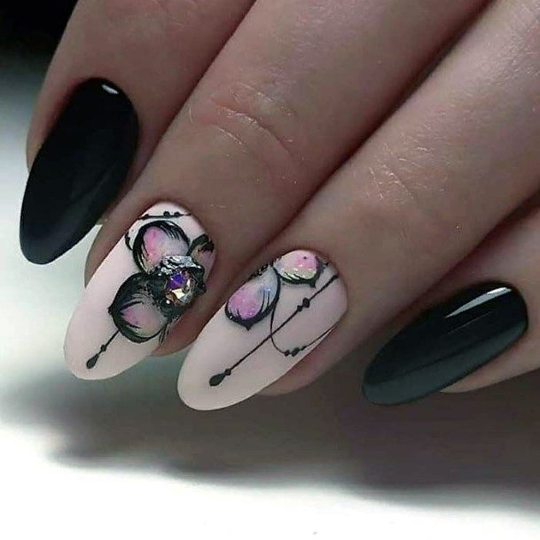 Stone And Orchids Nail Art