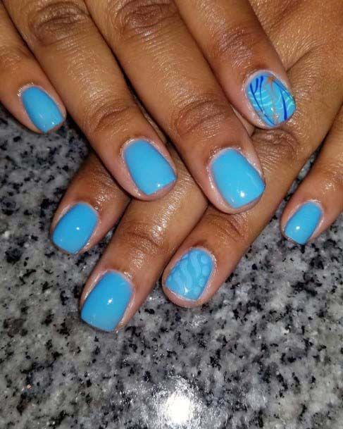 Stone Blue Square Nails For Women