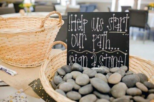 Stone Path Wedding Guest Book Ideas