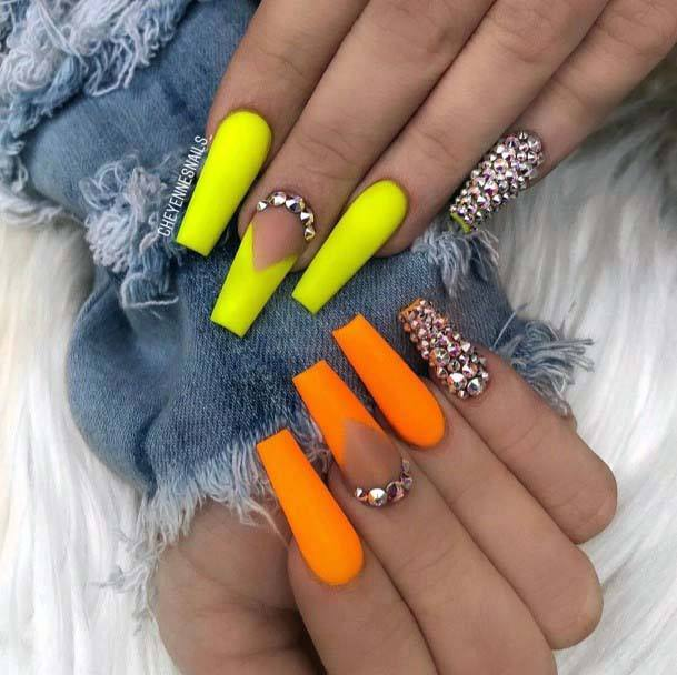 Stones And Bright Orange Yellow Nails For Women