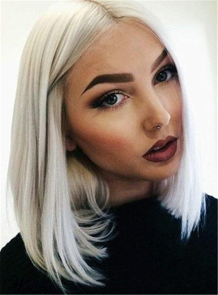 Straight Silver Locks With Center Part Women Hair