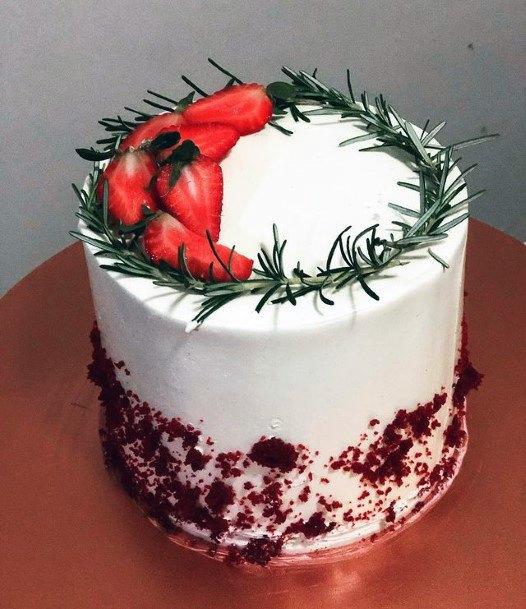 Strawberries And Flora Red Velvet Wedding Cake
