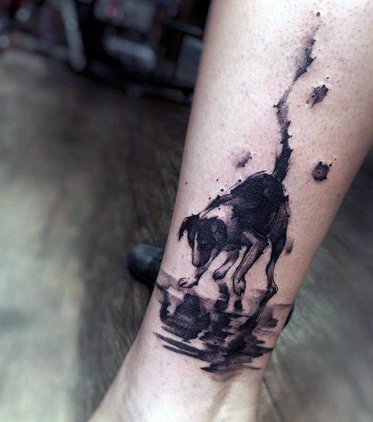 Street Dog Drinking Water Tattoo Womens Hands